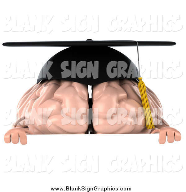 Illustration of a 3d Graduation Brain over a Sign