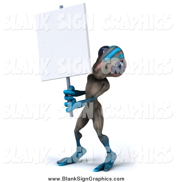 Illustration of a 3d Gray and Blue Alien Holding a Blank Sign