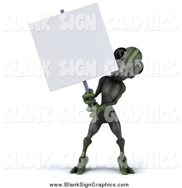 Illustration of a 3d Green Alien Holding a Blank Sign