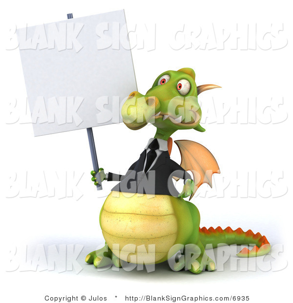 Illustration of a 3d Green Business Dragon Holding a Blank Sign