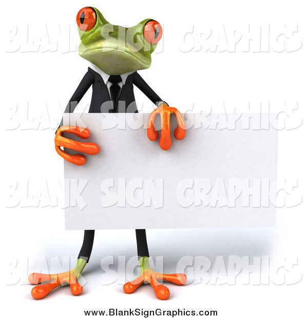 Illustration of a 3d Green Business Frog Holding a Blank Sign