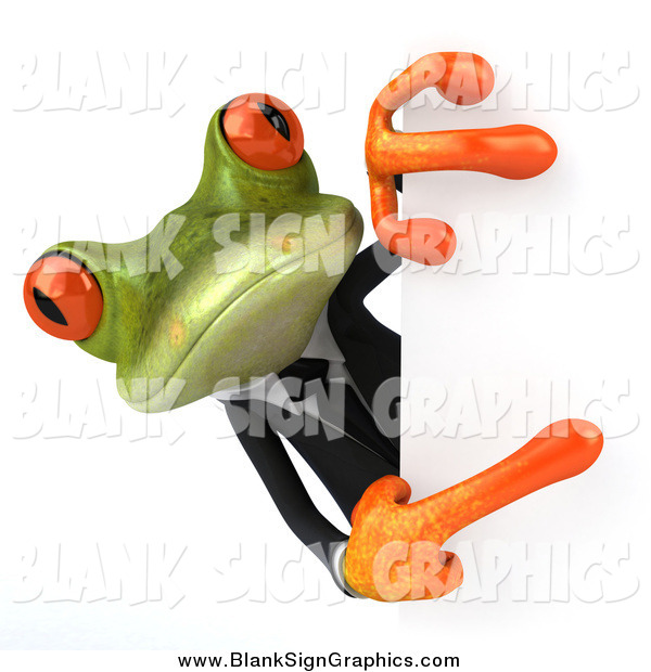 Illustration of a 3d Green Business Frog Pointing Around a Sign