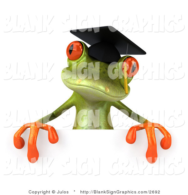 Illustration of a 3d Green Frog Graduate Holding a Blank Sign