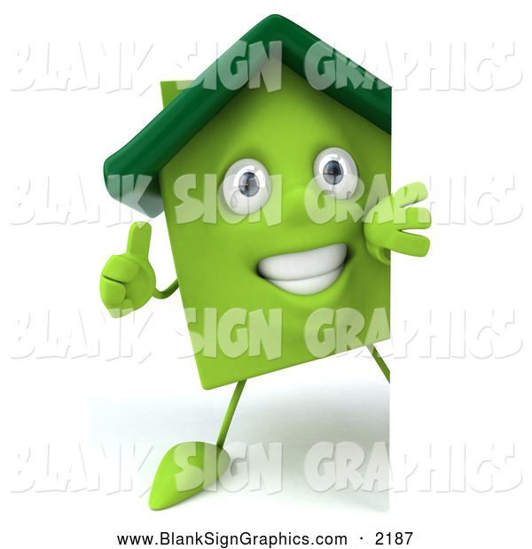 Illustration of a 3d Green Home Character Holding a Thumb up Around a Blank Sign