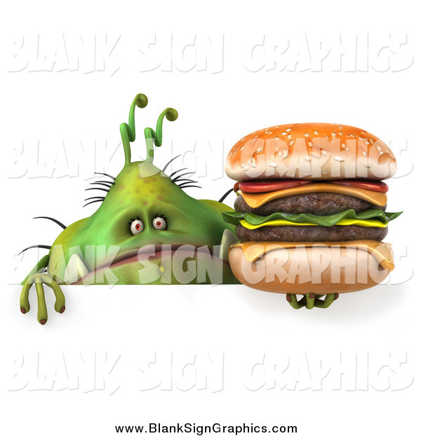 Illustration of a 3d Green Monster or Germ Holding a Cheeseburger over a Sign