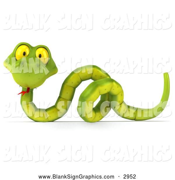 Illustration of a 3d Green Snake over a Blank Sign