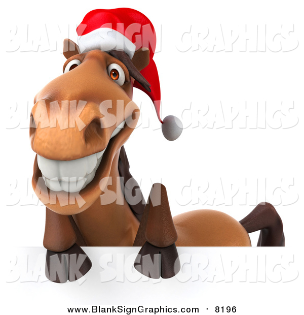 Illustration of a 3d Happy Christmas Horse Smiling over a Sign