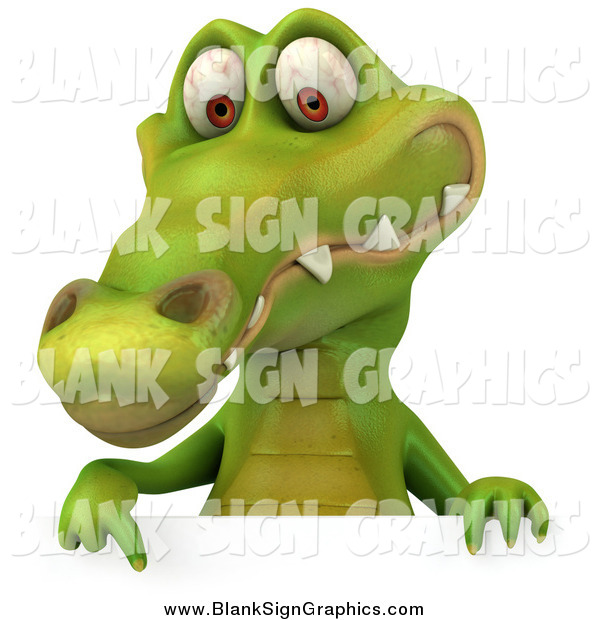 Illustration of a 3d Happy Crocodile Pointing down to a Sign