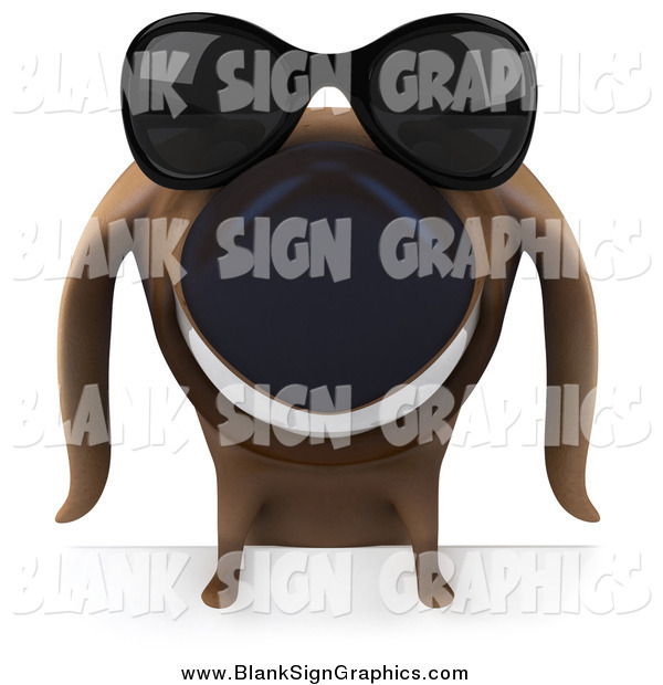 Illustration of a 3d Happy Dachshund Dog Wearing Shades over a Blank Sign