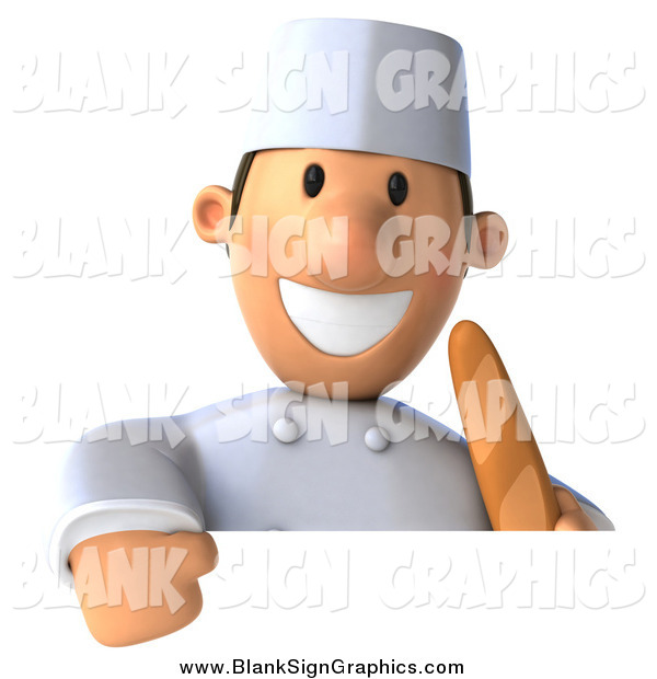 Illustration of a 3d Happy Male Chef Holding French Bread over a Sign