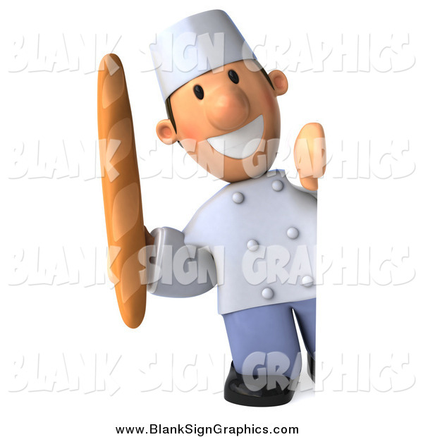 Illustration of a 3d Happy White Male Chef Holding Bread Around a Blank Sign