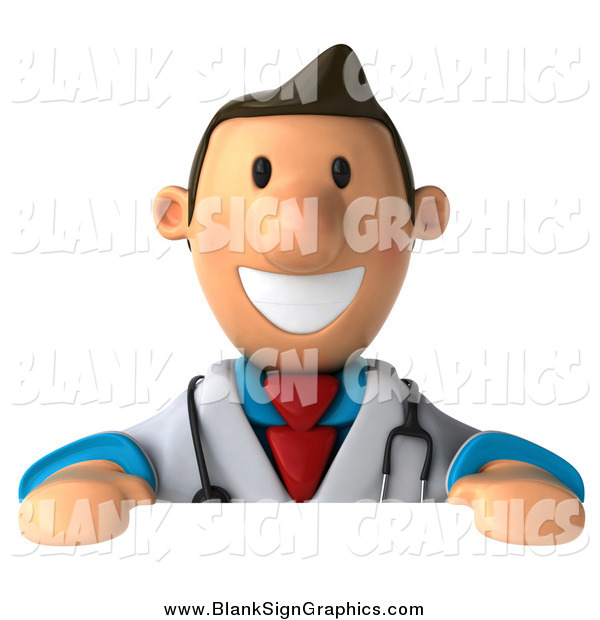 Illustration of a 3d Happy White Male Doctor over a Blank Sign