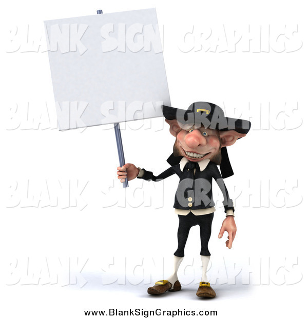 Illustration of a 3d Korrigan Dwarf Holding up a Blank Sign