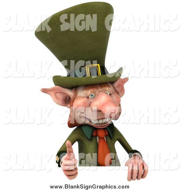 Illustration of a 3d Leprechaun Holding a Thumb up over a Sign Board
