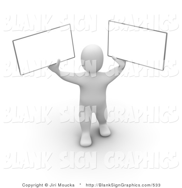 Illustration of a 3d Man Holding up Two Blank Signs