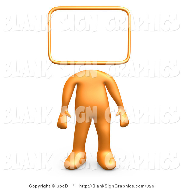 Illustration of a 3d Orange Person with a Blank Sign Head