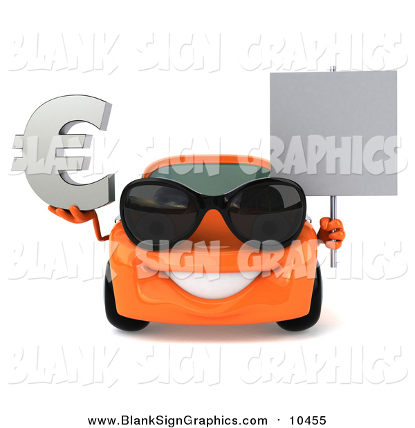 Illustration of a 3d Orange Porsche Car Wearing Sunglasses, Holding a Euro Symbol and Sign