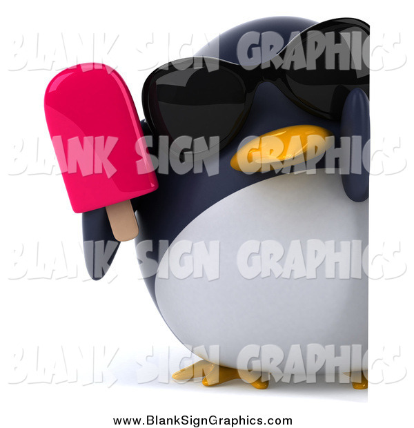 Illustration of a 3d Penguin Wearing Shades and Holding a Popsicle by a Sign