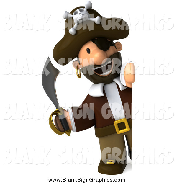 Illustration of a 3d Pirate Holding a Sword and Looking Around a Sign