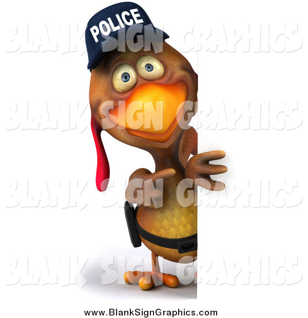 Illustration of a 3d Police Chicken Looking Around a Sign
