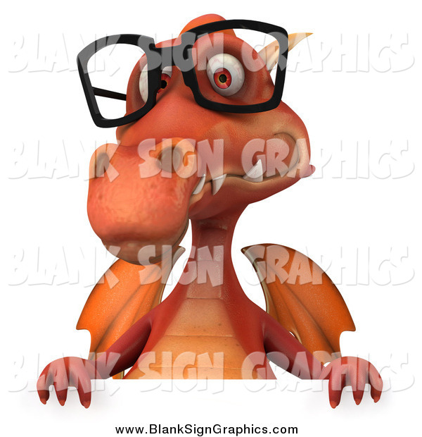 Illustration of a 3d Red Dragon Wearing Glasses over a Sign