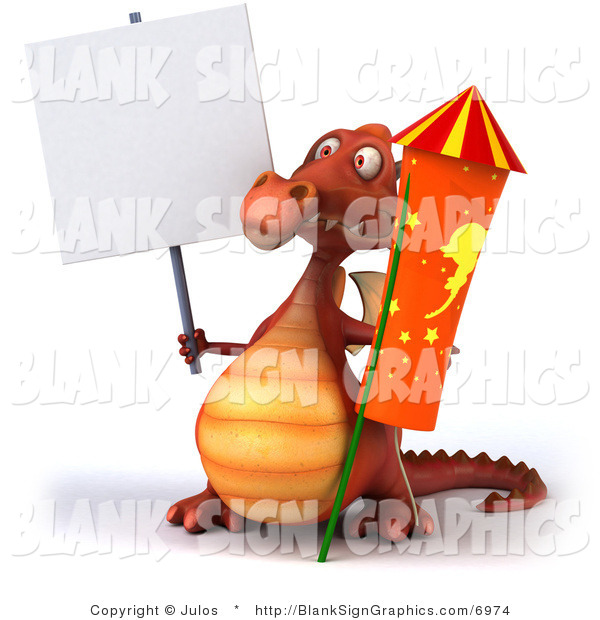 Illustration of a 3d Red Dragon with a Blank Sign and a Rocket