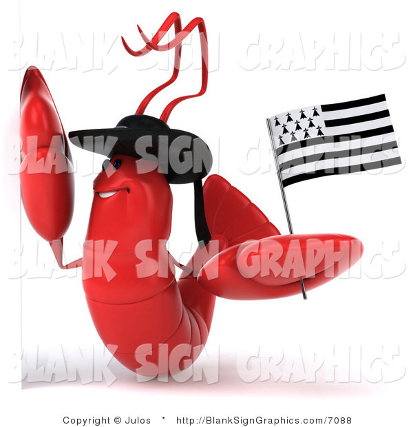 Illustration of a 3d Red Lobster Waving a Breton Flag and Holding a Blank Sign