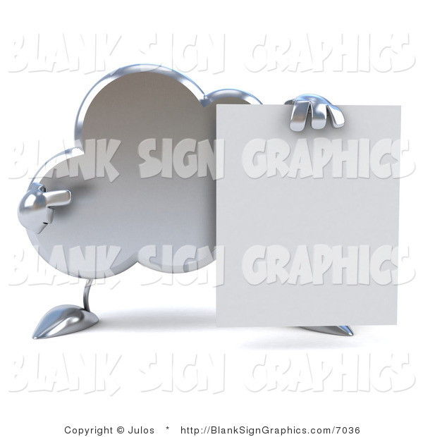 Illustration of a 3d Silver Cloud Character with a Blank Sign