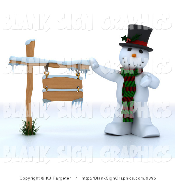 Illustration of a 3d Snowman Presenting a Blank Wooden Sign