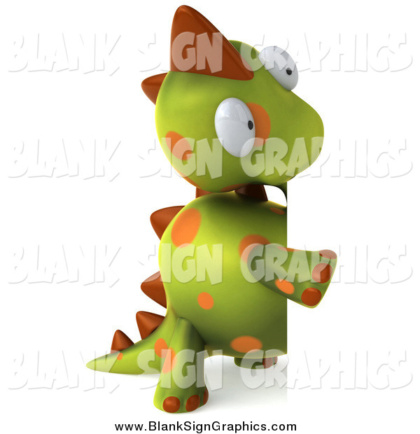 Illustration of a 3d Spotted Dinosaur Looking Around a Blank Sign