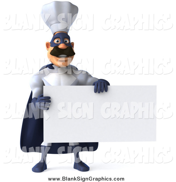 Illustration of a 3d Super Hero Chef Holding a Blank Sign