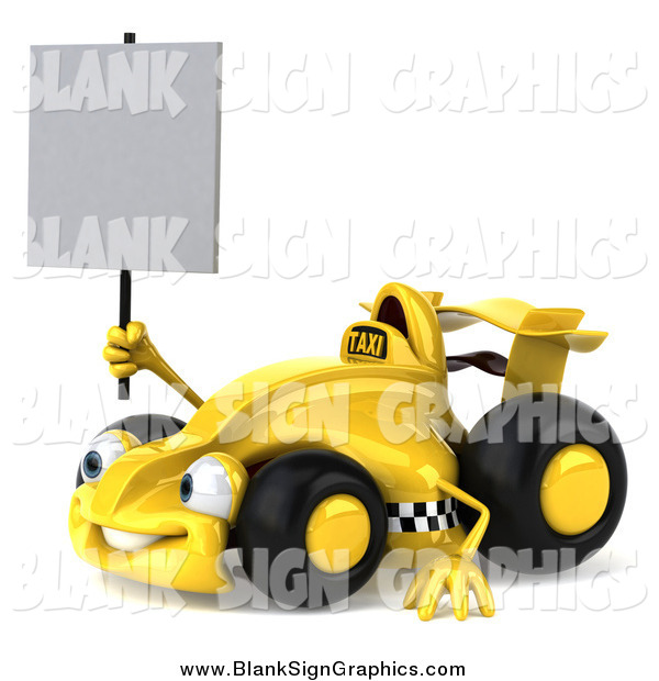 Illustration of a 3d Taxi Race Car Facing Lef and Holding a Blank Sign