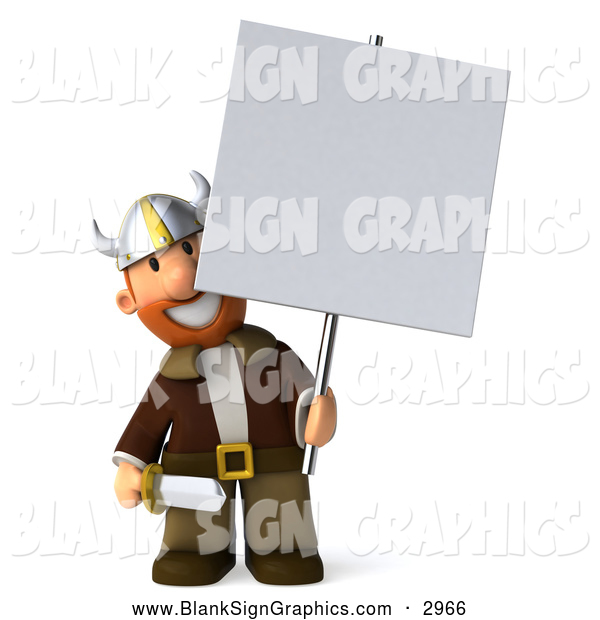 Illustration of a 3d Viking Holding a Blank Sign on a Post
