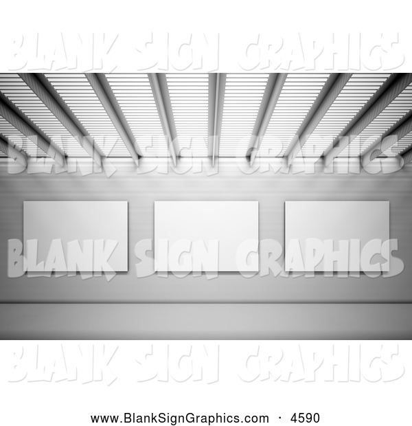 Illustration of a 3d Wall of Blank Sign Advertisements