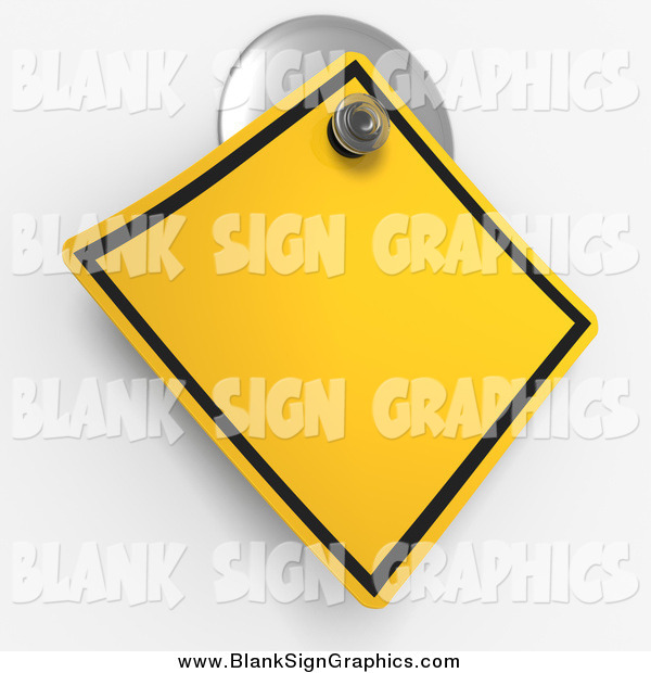 Illustration of a 3d Warning Sign on a Suction Cup
