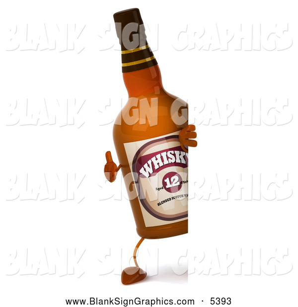 Illustration of a 3d Whisky Bottle Mascot Giving a Thumbs up Around a Blank Sign