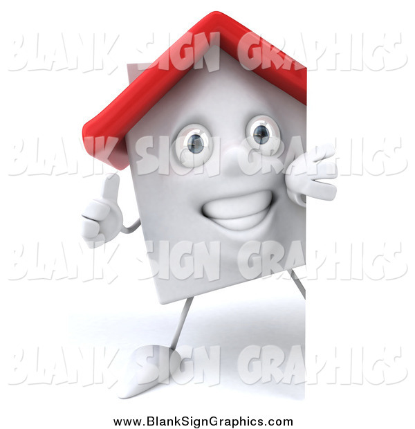 Illustration of a 3d White Home Holding a Thumb up Around a Sign