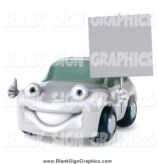 Illustration of a 3d White Porsche Holding a Thumb up and Sign