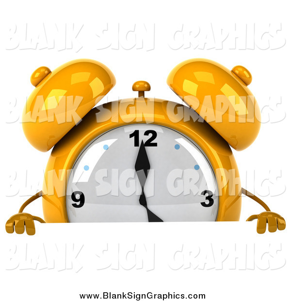 Illustration of a 3d Yellow Alarm Clock Character Looking over a Blank Sign