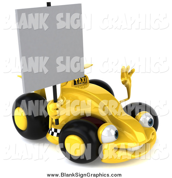 Illustration of a 3d Yellow Race Car Facing Right and Holding a Blank Sign