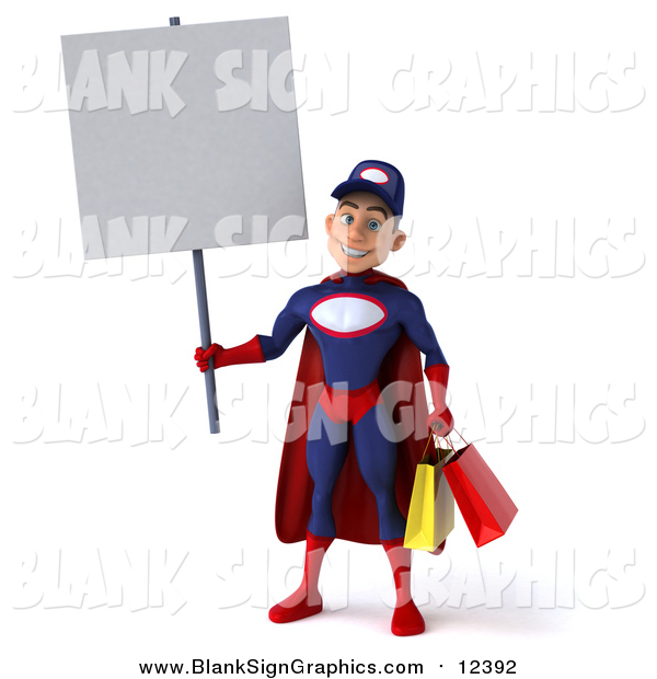 Illustration of a 3d Young White Male Super Hero Mechanic in Red and Dark Blue, Holding a Blank Sign and Carrying Shopping Bags
