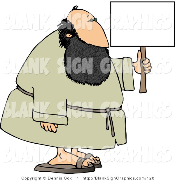 Illustration of a Bearded Man Holding a Sign