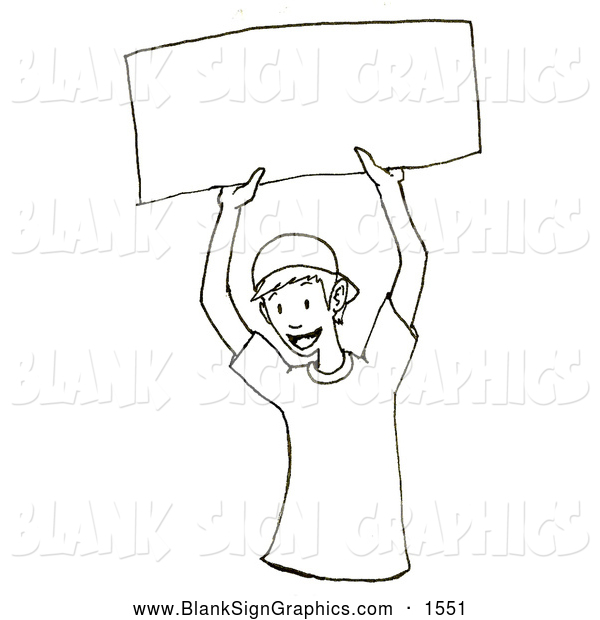 Illustration of a Black and White Happy Boy Holding up a Blank Sign