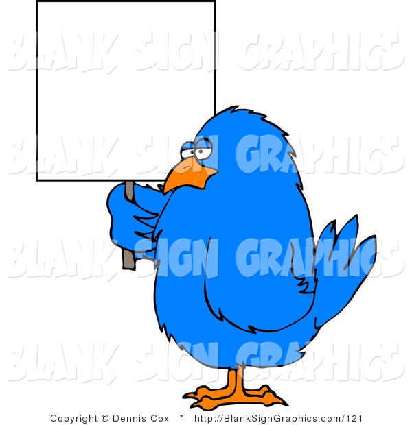 Illustration of a Blue Bird Holding a Sign
