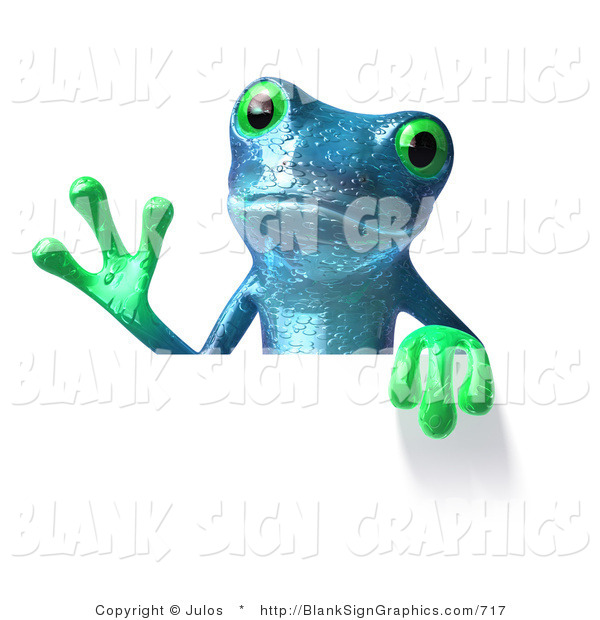 Illustration of a Blue Frog Holding a Blank Sign