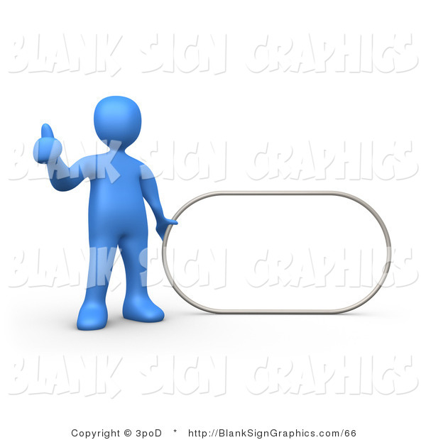 Illustration of a Blue Man Holding a Blank Oval Sign