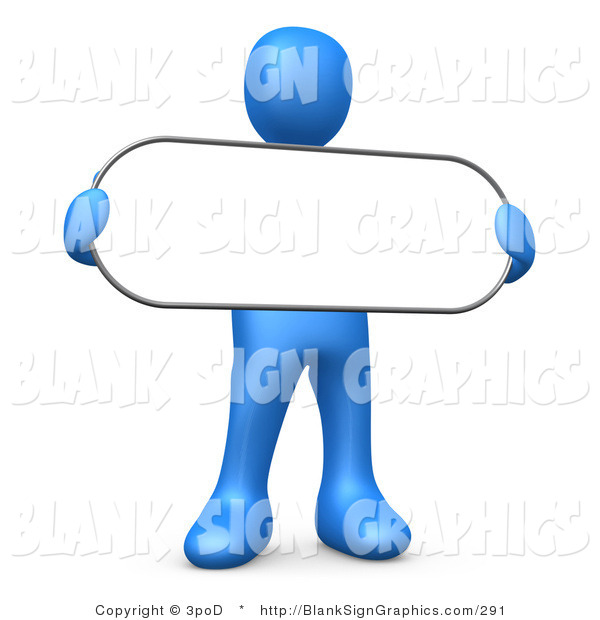 Illustration of a Blue Person Holding a Blank Oval Sign
