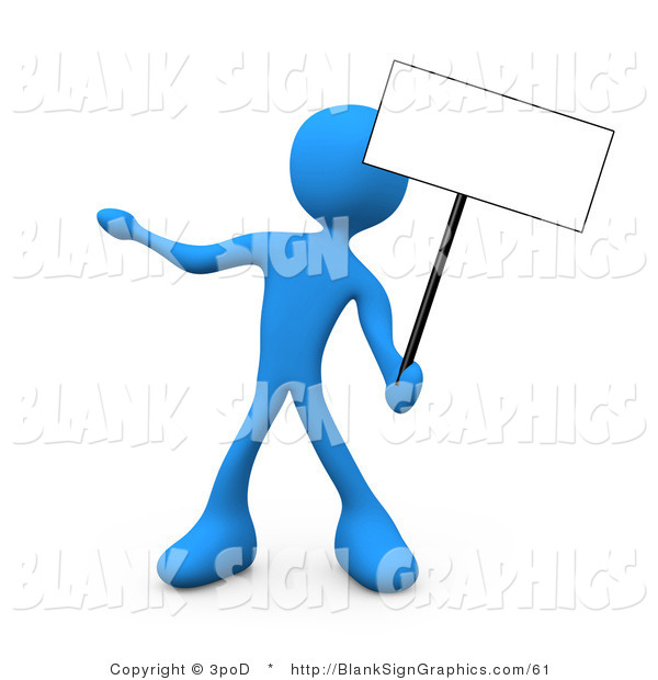 Illustration of a Blue Person Holding up a Blank Sign