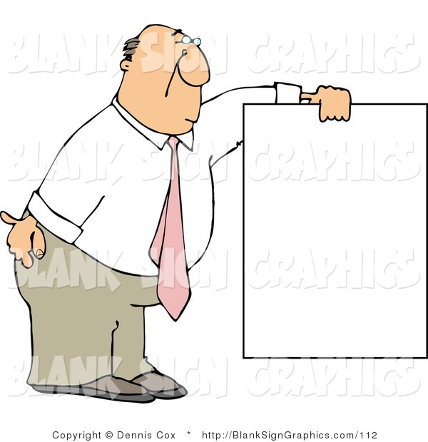 Illustration of a Businessman Bending and Holding a Blank Sign