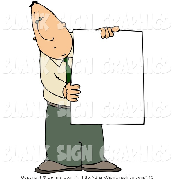 Illustration of a Businessman Holding a Blank Sign